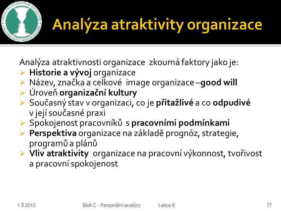 Analýza atraktivnosti organizace zkoumá faktory jako je:  Historie a vývoj organizace  Název, značka a celkové image organizace –good will  Úroveň