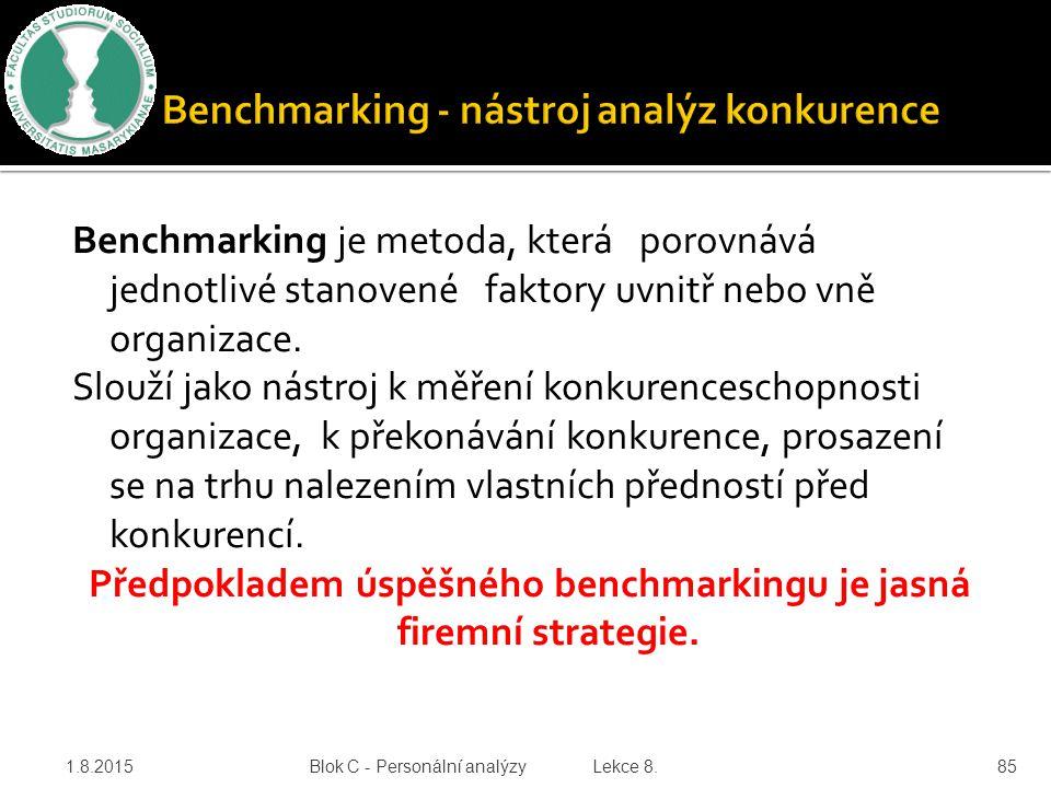 Benchmarking je metoda, která porovnává jednotlivé stanovené faktory uvnitř nebo vně organizace. Slouží jako nástroj k měření konkurenceschopnosti org