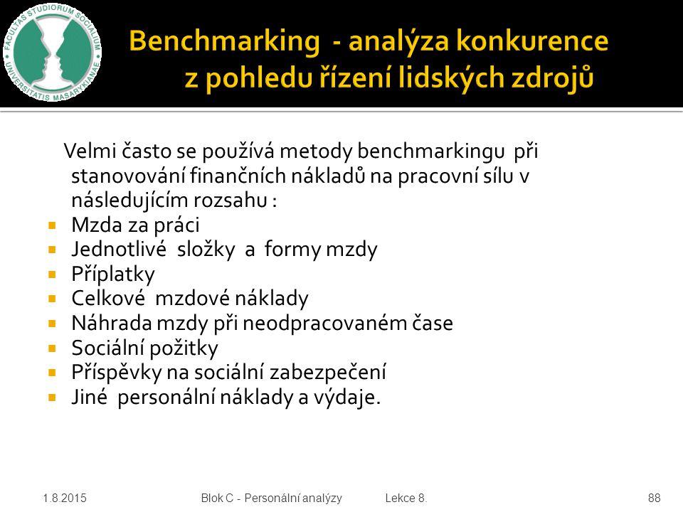 Velmi často se používá metody benchmarkingu při stanovování finančních nákladů na pracovní sílu v následujícím rozsahu :  Mzda za práci  Jednotlivé
