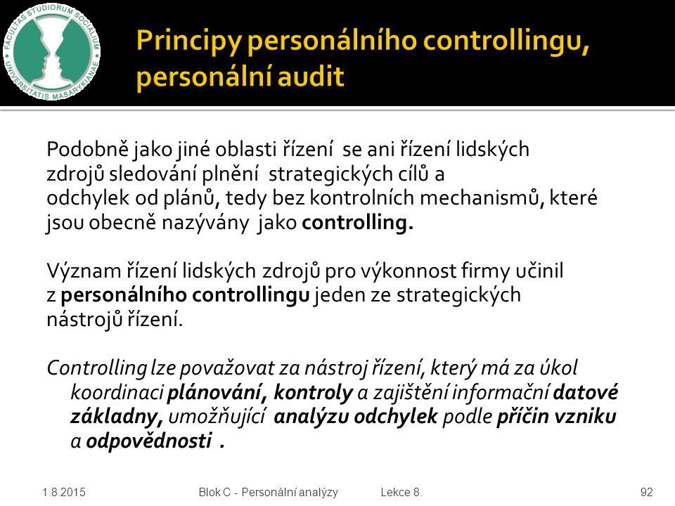 Podobně jako jiné oblasti řízení se ani řízení lidských zdrojů sledování plnění strategických cílů a odchylek od plánů, tedy bez kontrolních mechanism