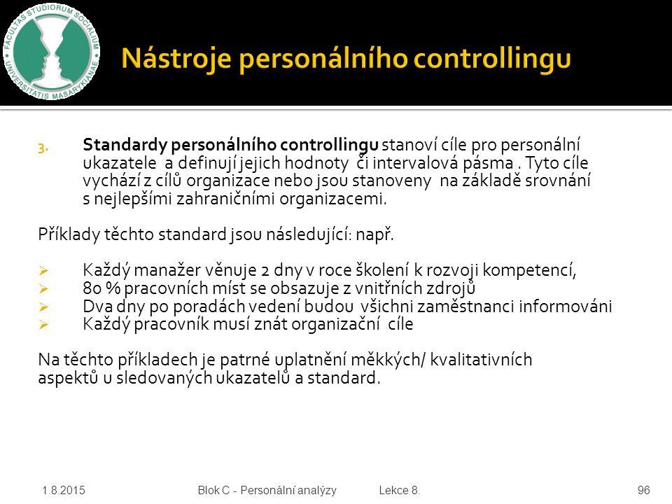 3. Standardy personálního controllingu stanoví cíle pro personální ukazatele a definují jejich hodnoty či intervalová pásma. Tyto cíle vychází z cílů