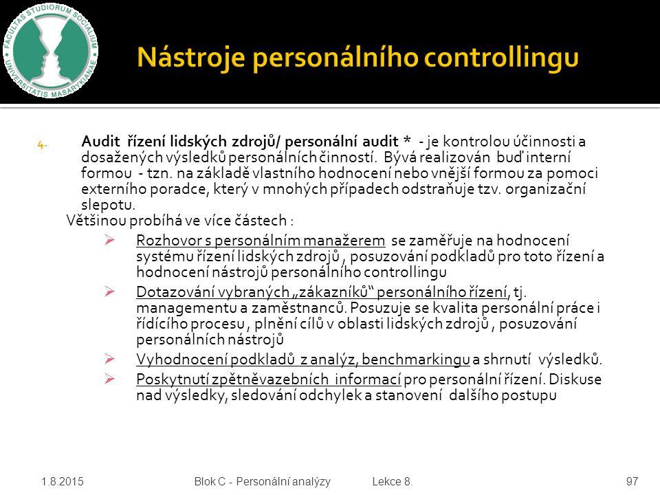 4. Audit řízení lidských zdrojů/ personální audit * - je kontrolou účinnosti a dosažených výsledků personálních činností. Bývá realizován buď interní