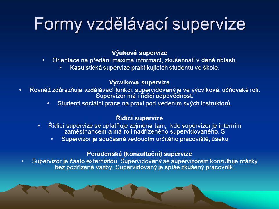 Výuková supervize Orientace na předání maxima informací, zkušeností v dané oblasti. Kasuistická supervize praktikujících studentů ve škole. Výcviková