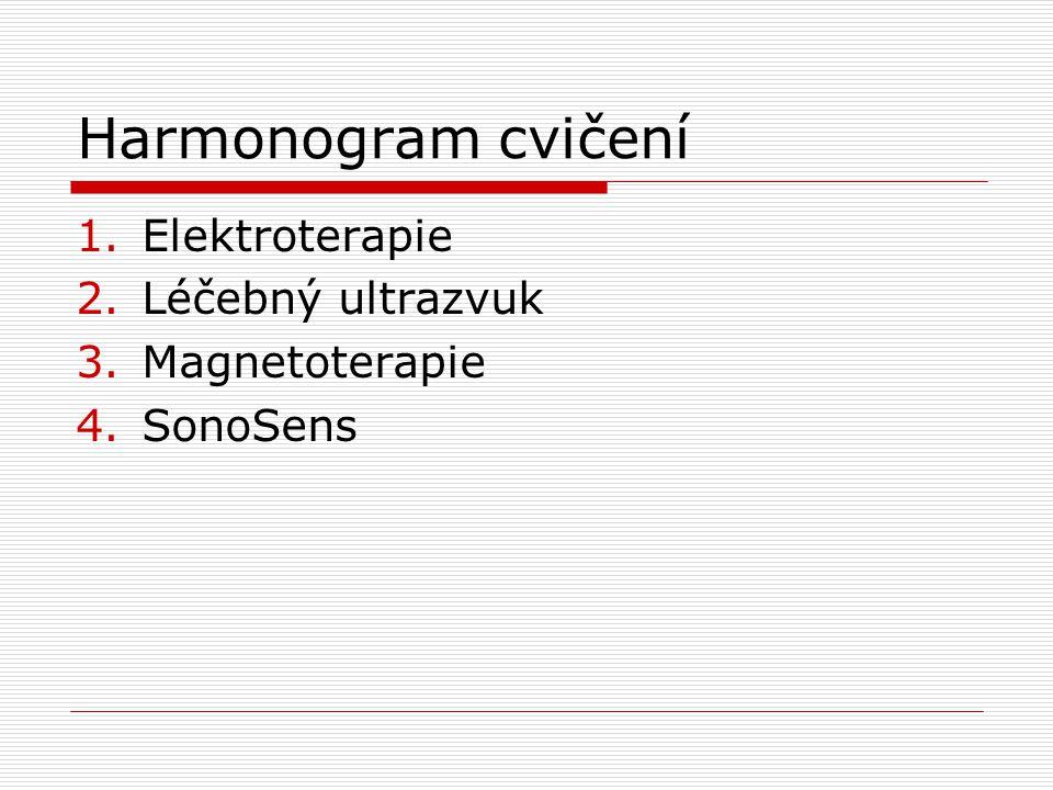 Harmonogram cvičení 1.Elektroterapie 2.Léčebný ultrazvuk 3.Magnetoterapie 4.SonoSens