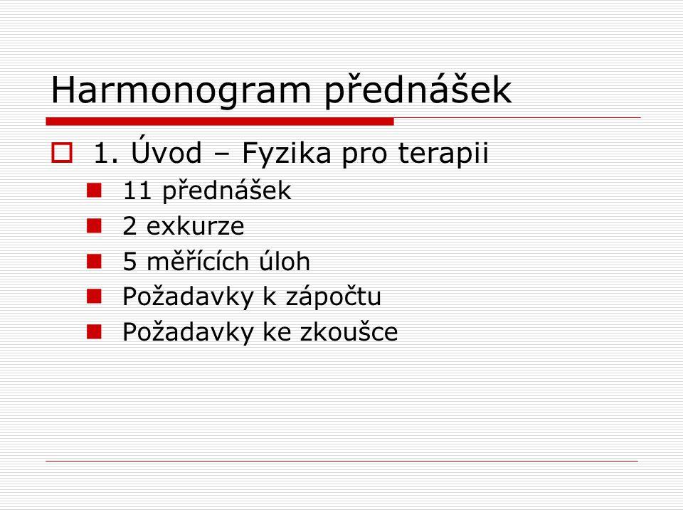 Harmonogram přednášek  1. Úvod – Fyzika pro terapii 11 přednášek 2 exkurze 5 měřících úloh Požadavky k zápočtu Požadavky ke zkoušce