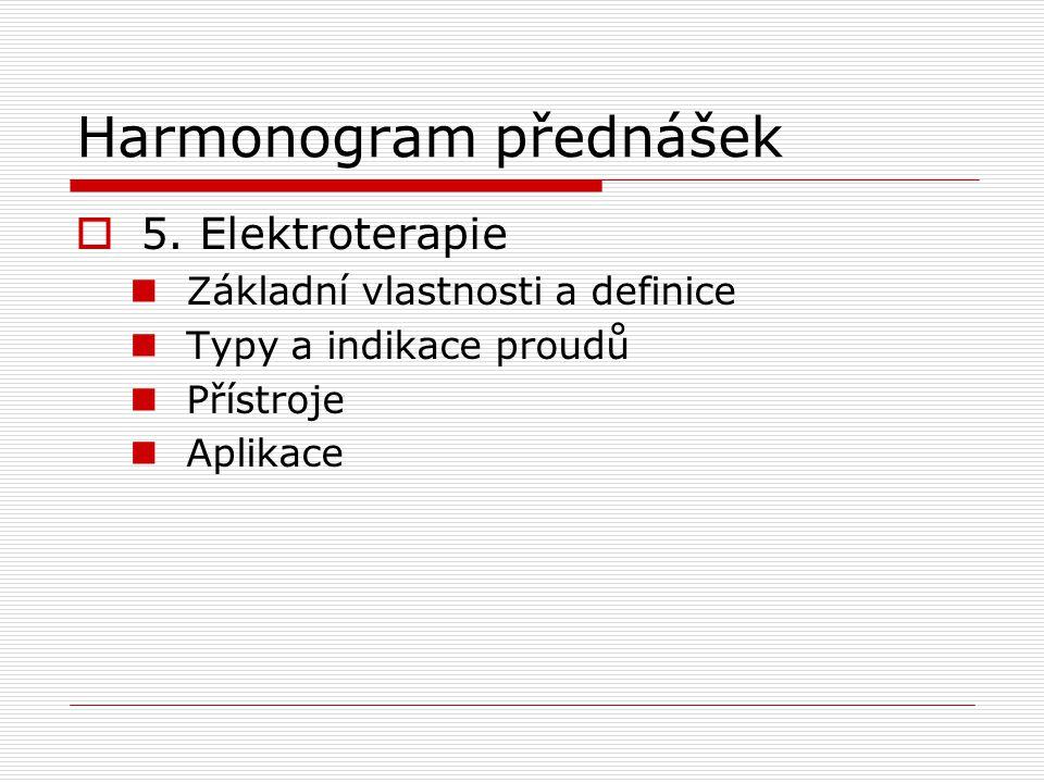 Harmonogram přednášek  5. Elektroterapie Základní vlastnosti a definice Typy a indikace proudů Přístroje Aplikace