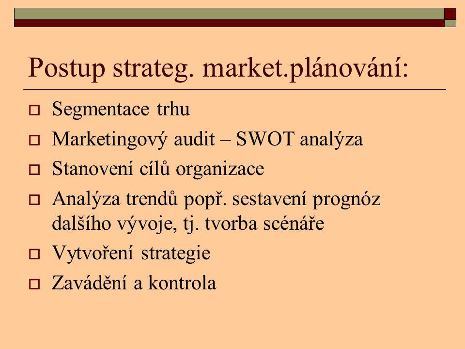 Postup strateg. market.plánování:  Segmentace trhu  Marketingový audit – SWOT analýza  Stanovení cílů organizace  Analýza trendů popř. sestavení p