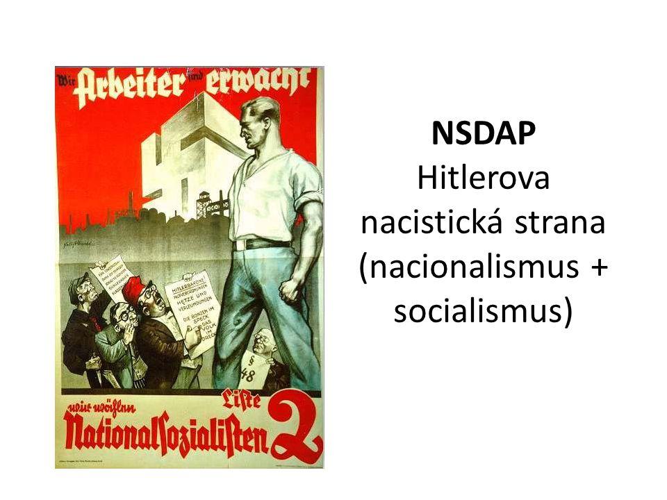 NSDAP Hitlerova nacistická strana (nacionalismus + socialismus)