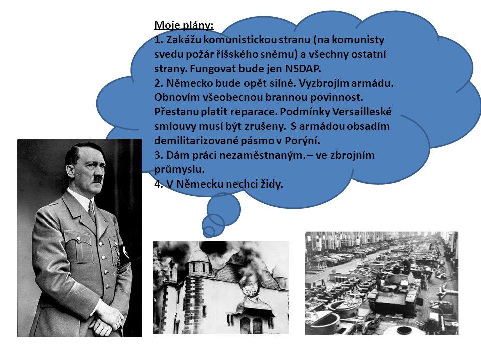 Moje plány: 1. Zakážu komunistickou stranu (na komunisty svedu požár říšského sněmu) a všechny ostatní strany. Fungovat bude jen NSDAP. 2. Německo bud