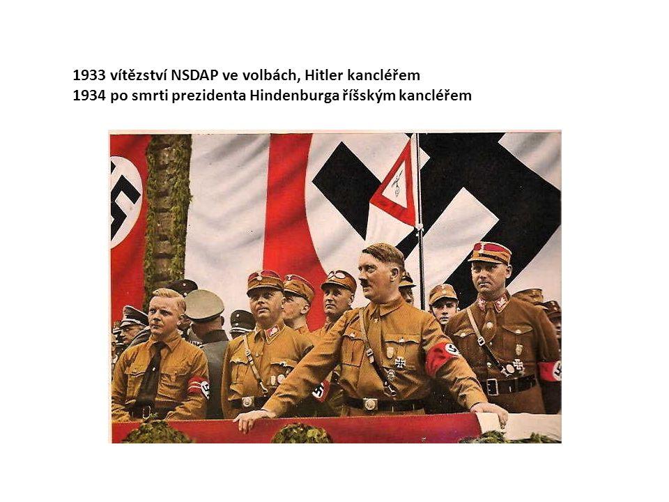 1933 vítězství NSDAP ve volbách, Hitler kancléřem 1934 po smrti prezidenta Hindenburga říšským kancléřem