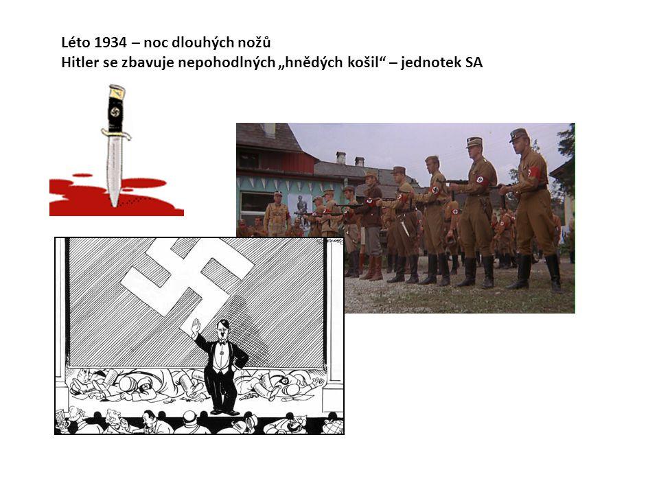 """Léto 1934 – noc dlouhých nožů Hitler se zbavuje nepohodlných """"hnědých košil"""" – jednotek SA"""