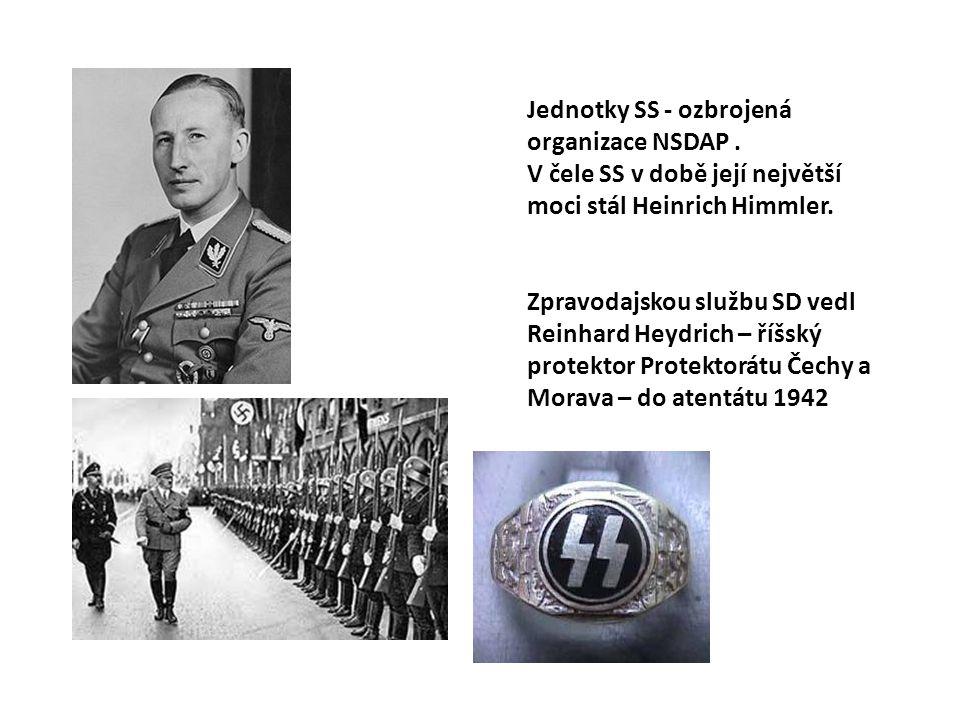 Jednotky SS - ozbrojená organizace NSDAP. V čele SS v době její největší moci stál Heinrich Himmler. Zpravodajskou službu SD vedl Reinhard Heydrich –