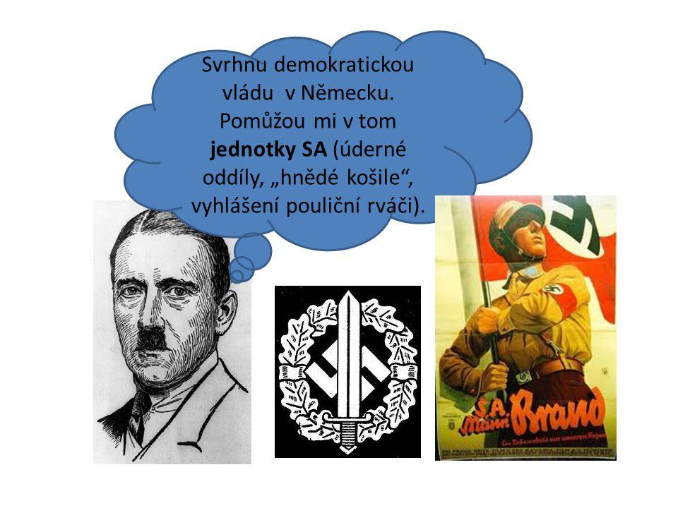 """Svrhnu demokratickou vládu v Německu. Pomůžou mi v tom jednotky SA (úderné oddíly, """"hnědé košile"""", vyhlášení pouliční rváči)."""