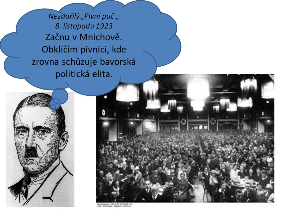"""Nezdařilý """"Pivní puč """" 8. listopadu 1923 Začnu v Mnichově. Obklíčím pivnici, kde zrovna schůzuje bavorská politická elita."""