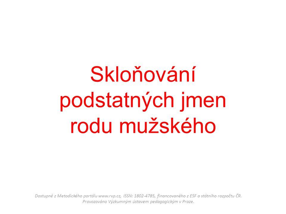 Skloňování podstatných jmen rodu mužského Dostupné z Metodického portálu www.rvp.cz, ISSN: 1802-4785, financovaného z ESF a státního rozpočtu ČR. Prov