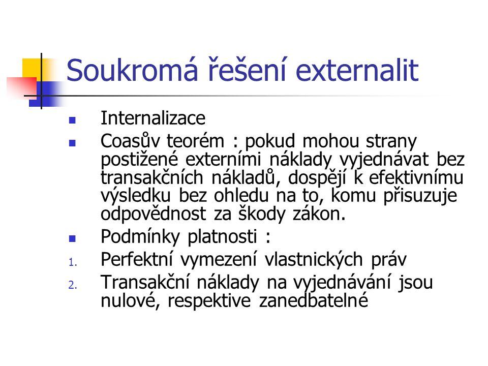 Soukromá řešení externalit Internalizace Coasův teorém : pokud mohou strany postižené externími náklady vyjednávat bez transakčních nákladů, dospějí k