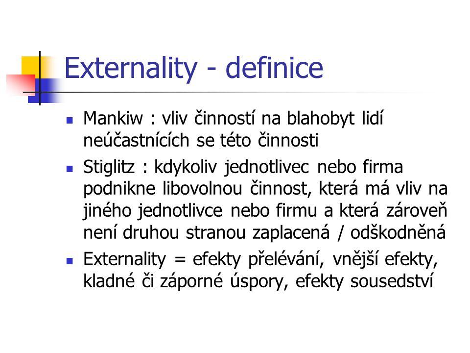 Externality - definice Mankiw : vliv činností na blahobyt lidí neúčastnících se této činnosti Stiglitz : kdykoliv jednotlivec nebo firma podnikne libo