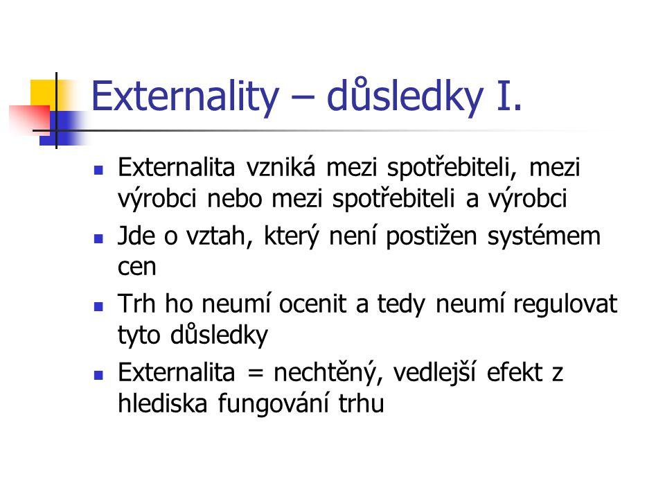 Externality – důsledky I. Externalita vzniká mezi spotřebiteli, mezi výrobci nebo mezi spotřebiteli a výrobci Jde o vztah, který není postižen systéme