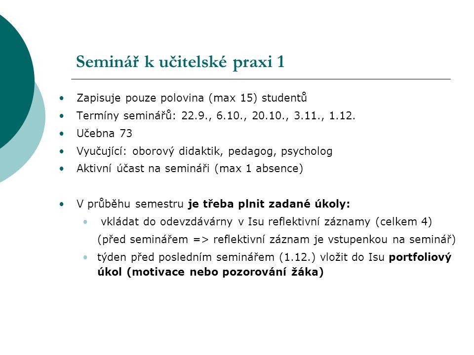 Seminář k učitelské praxi 1 Zapisuje pouze polovina (max 15) studentů Termíny seminářů: 22.9., 6.10., 20.10., 3.11., 1.12. Učebna 73 Vyučující: oborov