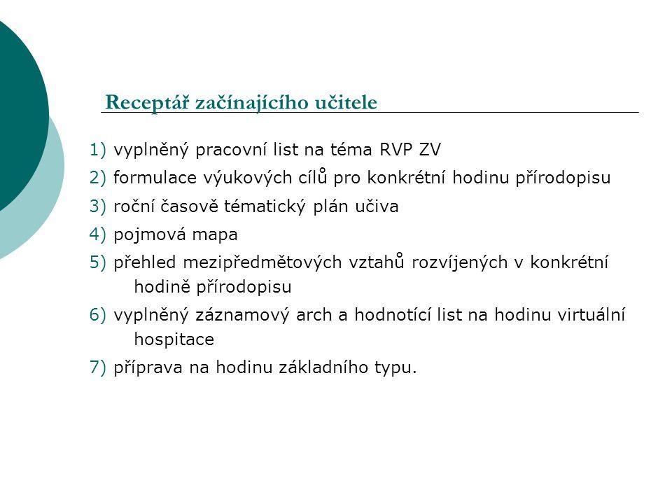 Receptář začínajícího učitele 1) vyplněný pracovní list na téma RVP ZV 2) formulace výukových cílů pro konkrétní hodinu přírodopisu 3) roční časově té