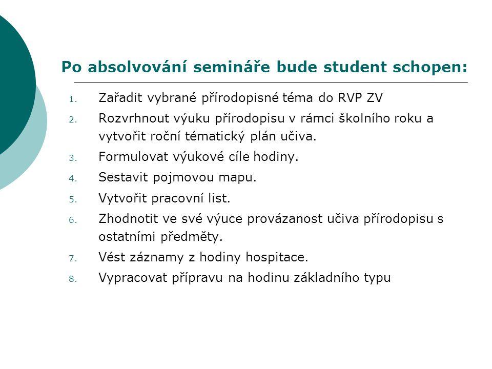 Po absolvování semináře bude student schopen: 1. Zařadit vybrané přírodopisné téma do RVP ZV 2. Rozvrhnout výuku přírodopisu v rámci školního roku a v