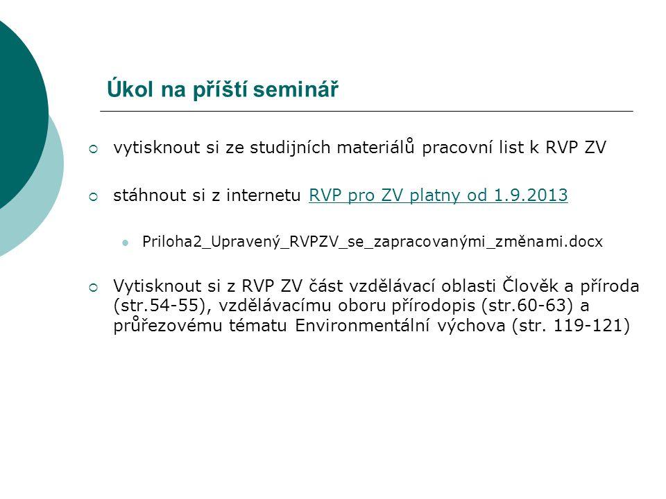 Úkol na příští seminář  vytisknout si ze studijních materiálů pracovní list k RVP ZV  stáhnout si z internetu RVP pro ZV platny od 1.9.2013RVP pro Z