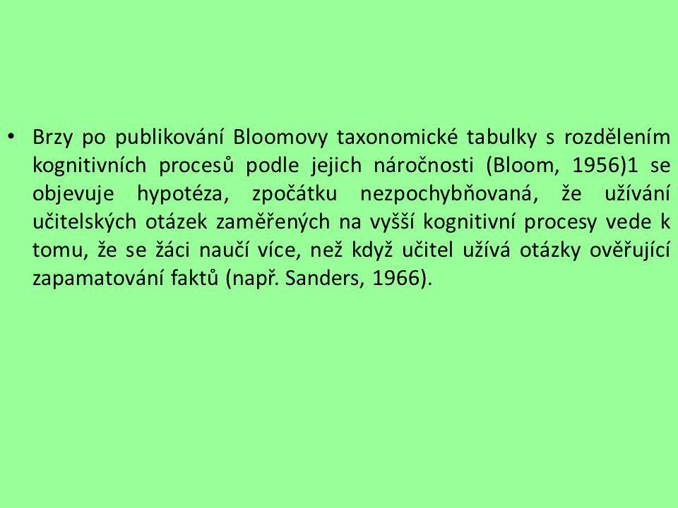 Brzy po publikování Bloomovy taxonomické tabulky s rozdělením kognitivních procesů podle jejich náročnosti (Bloom, 1956)1 se objevuje hypotéza, zpočát
