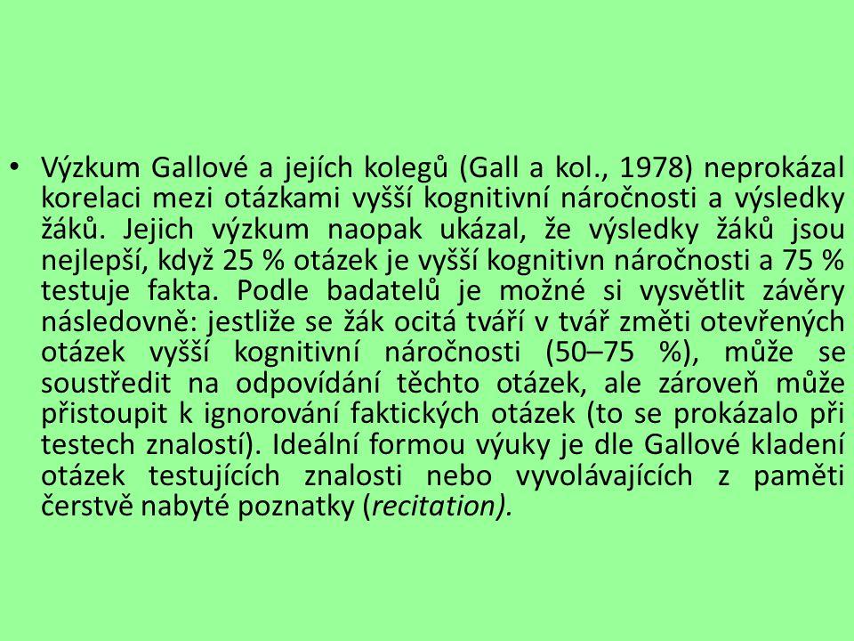 Výzkum Gallové a jejích kolegů (Gall a kol., 1978) neprokázal korelaci mezi otázkami vyšší kognitivní náročnosti a výsledky žáků. Jejich výzkum naopak