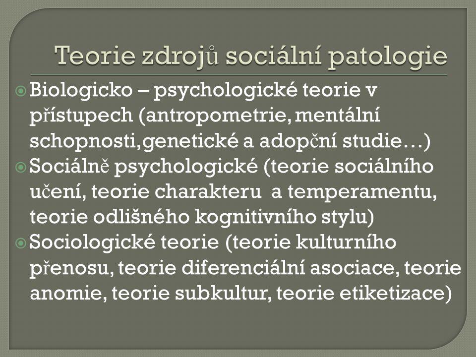  Biologicko – psychologické teorie v p ř ístupech (antropometrie, mentální schopnosti,genetické a adop č ní studie…)  Sociáln ě psychologické (teorie sociálního u č ení, teorie charakteru a temperamentu, teorie odlišného kognitivního stylu)  Sociologické teorie (teorie kulturního p ř enosu, teorie diferenciální asociace, teorie anomie, teorie subkultur, teorie etiketizace)