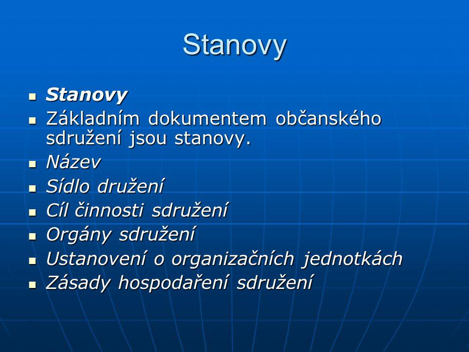 Stanovy Stanovy Stanovy Základním dokumentem občanského sdružení jsou stanovy. Základním dokumentem občanského sdružení jsou stanovy. Název Název Sídl