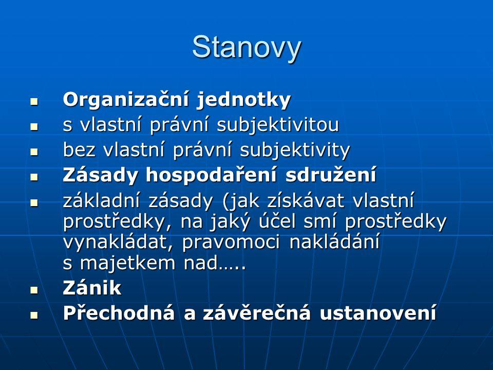 Stanovy Organizační jednotky Organizační jednotky s vlastní právní subjektivitou s vlastní právní subjektivitou bez vlastní právní subjektivity bez vl