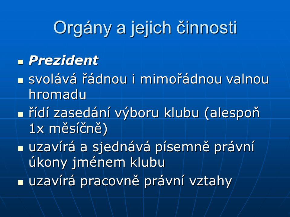 Orgány a jejich činnosti Prezident Prezident svolává řádnou i mimořádnou valnou hromadu svolává řádnou i mimořádnou valnou hromadu řídí zasedání výbor