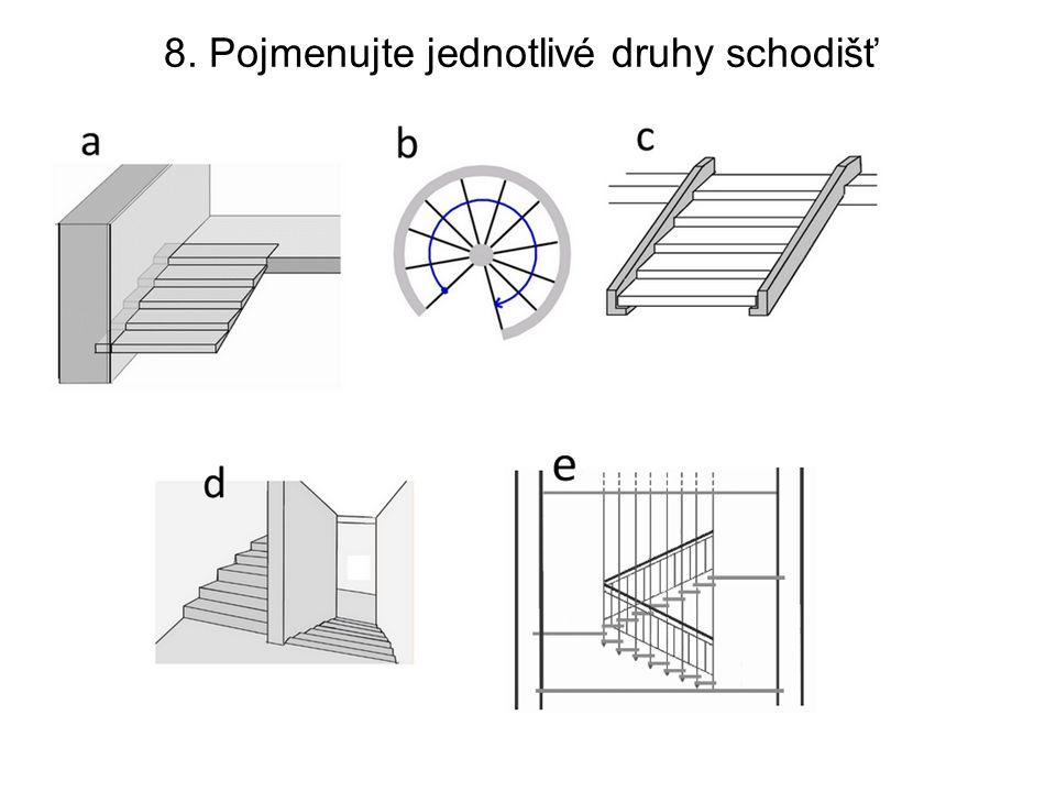 8. Pojmenujte jednotlivé druhy schodišť