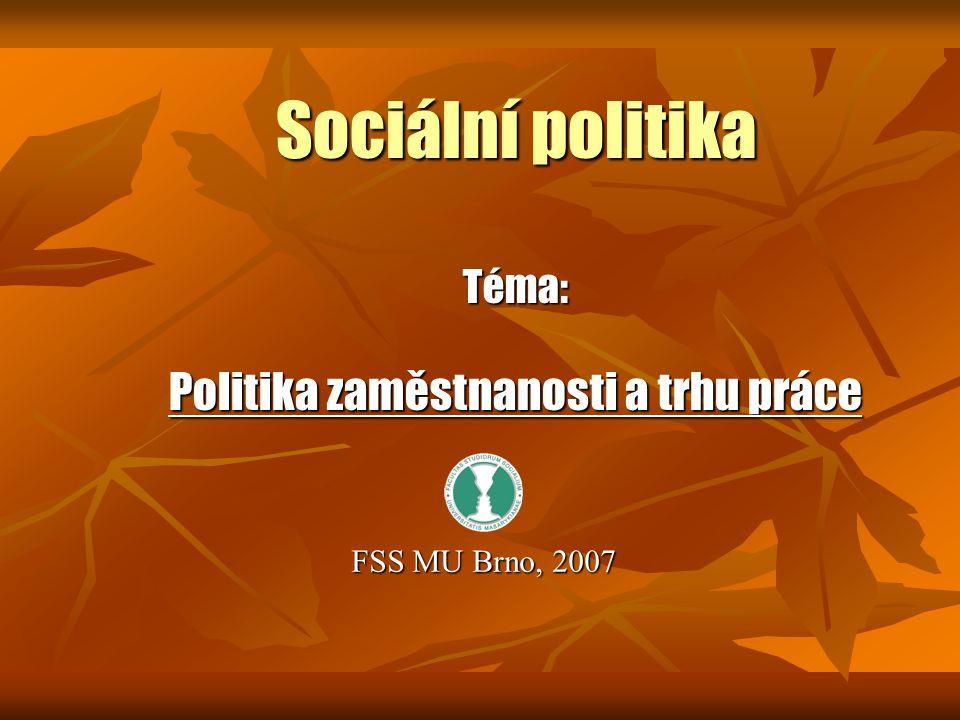 Sociální politika Téma: Politika zaměstnanosti a trhu práce FSS MU Brno, 2007