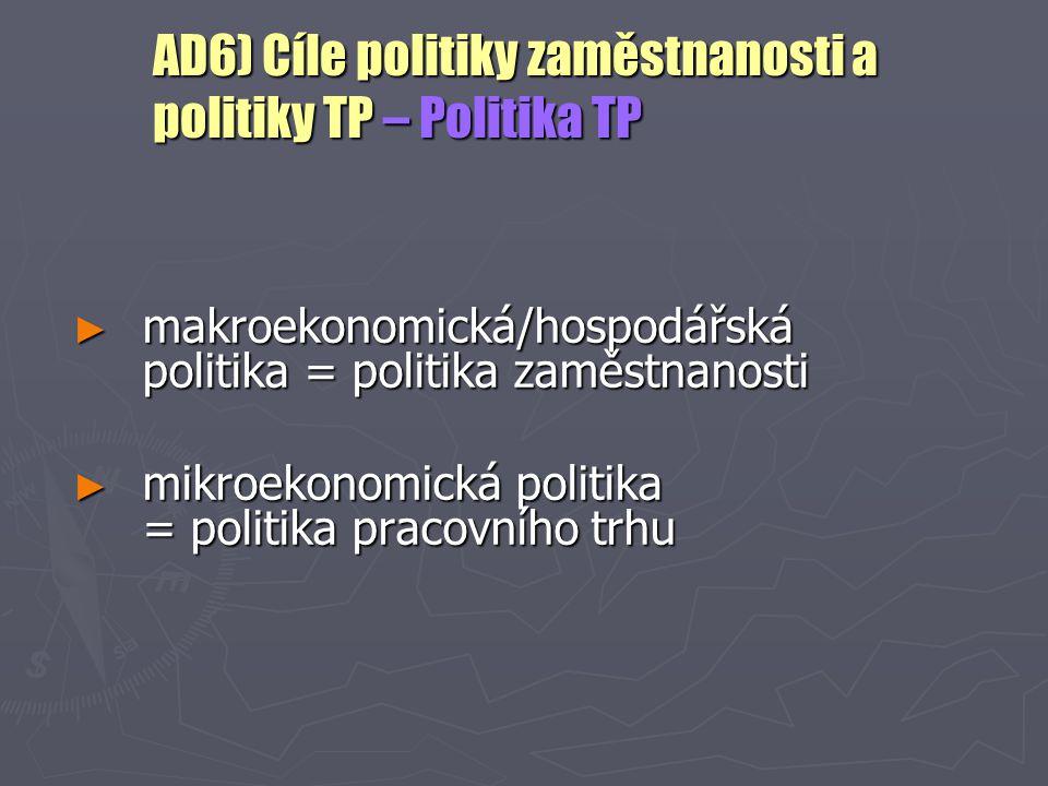 AD6) Cíle politiky zaměstnanosti a politiky TP – Politika TP ► makroekonomická/hospodářská politika = politika zaměstnanosti ► mikroekonomická politik