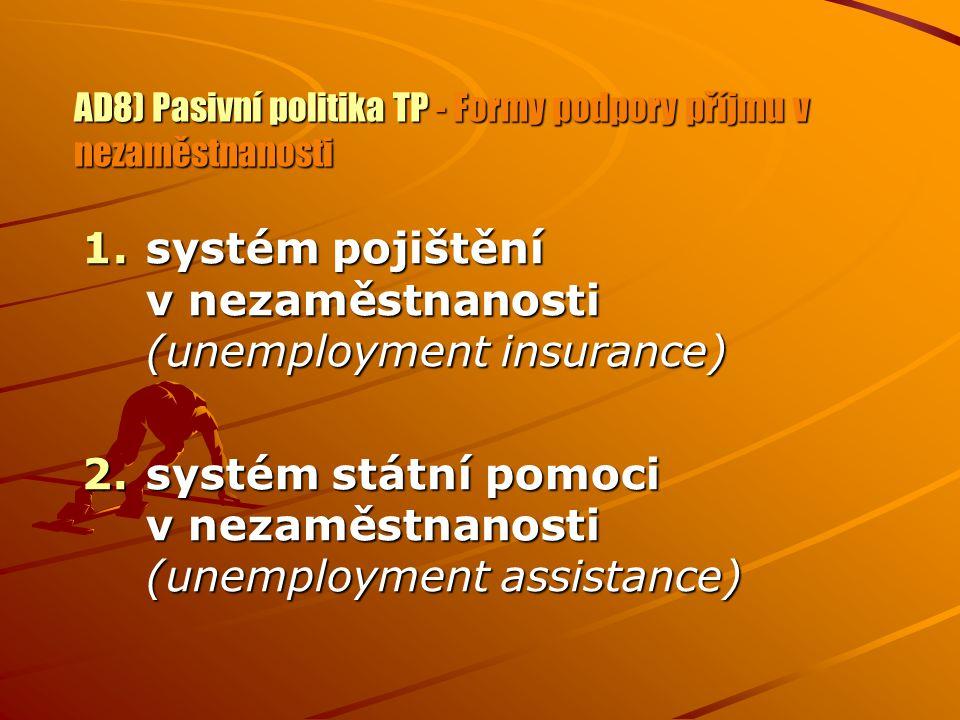 AD8) Pasivní politika TP - Formy podpory příjmu v nezaměstnanosti 1.systém pojištění v nezaměstnanosti (unemployment insurance) 2.systém státní pomoci