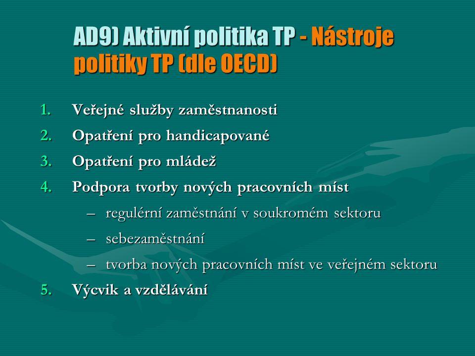 AD9) Aktivní politika TP - Nástroje politiky TP (dle OECD) 1.Veřejné služby zaměstnanosti 2.Opatření pro handicapované 3.Opatření pro mládež 4.Podpora