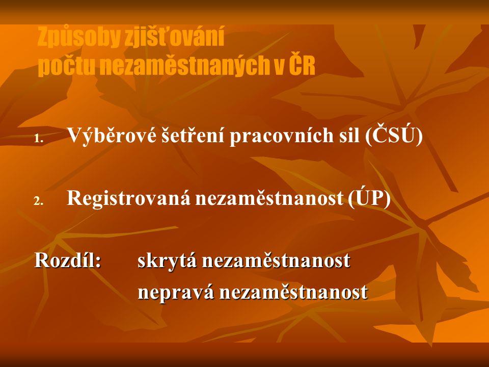 Způsoby zjišťování počtu nezaměstnaných v ČR 1. 1. Výběrové šetření pracovních sil (ČSÚ) 2. 2. Registrovaná nezaměstnanost (ÚP) Rozdíl: skrytá nezaměs