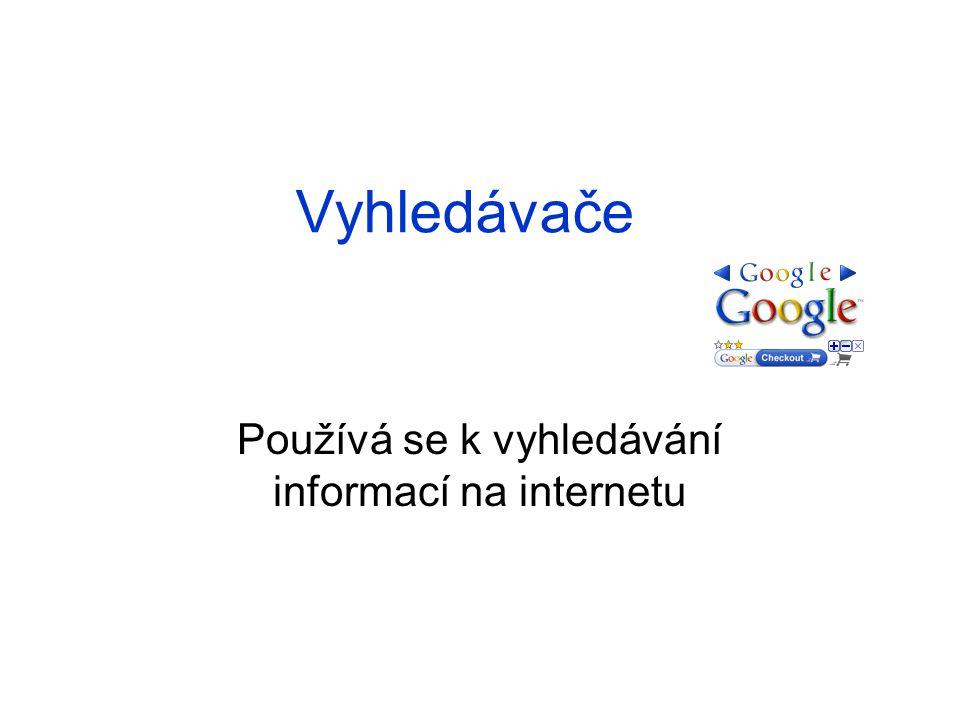 Vyhledávače Používá se k vyhledávání informací na internetu