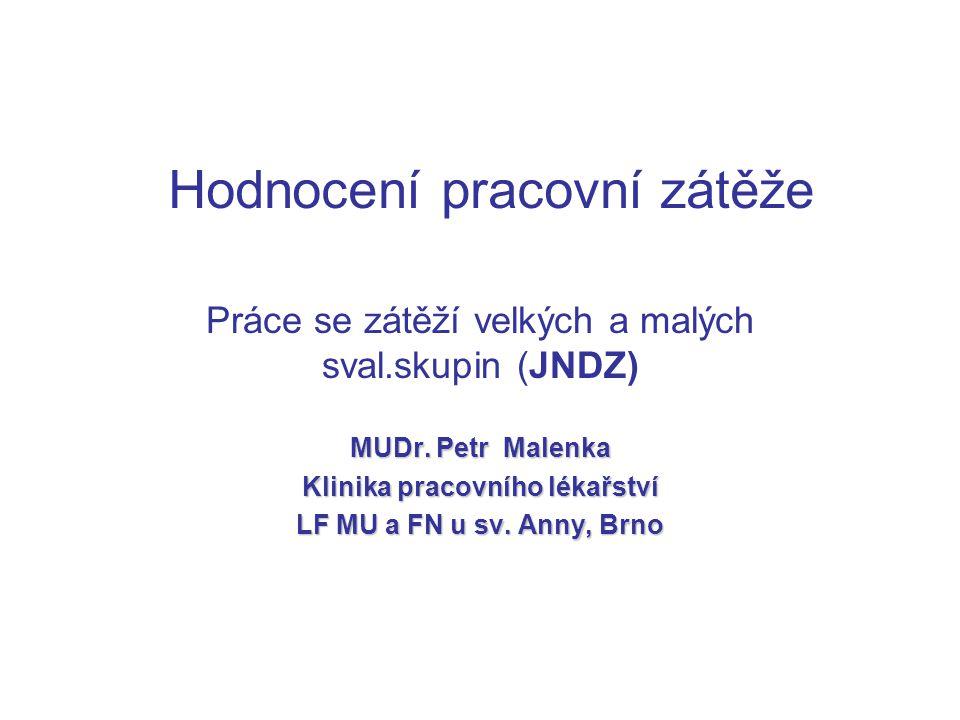 Hodnocení pracovní zátěže Práce se zátěží velkých a malých sval.skupin (JNDZ) MUDr. Petr Malenka Klinika pracovního lékařství LF MU a FN u sv. Anny, B