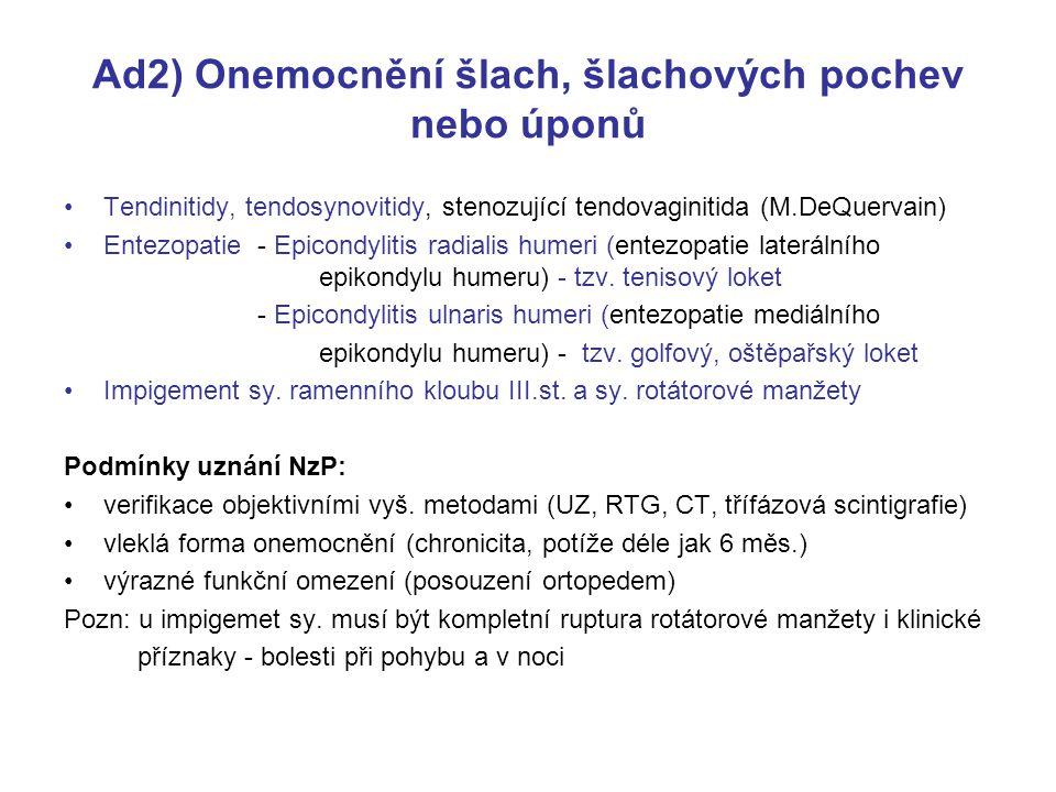 Ad2) Onemocnění šlach, šlachových pochev nebo úponů Tendinitidy, tendosynovitidy, stenozující tendovaginitida (M.DeQuervain) Entezopatie - Epicondylitis radialis humeri (entezopatie laterálního epikondylu humeru) - tzv.