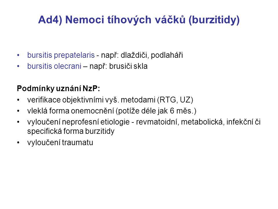 Ad4) Nemoci tíhových váčků (burzitidy) bursitis prepatelaris - např: dlaždiči, podlaháři bursitis olecrani – např: brusiči skla Podmínky uznání NzP: verifikace objektivními vyš.