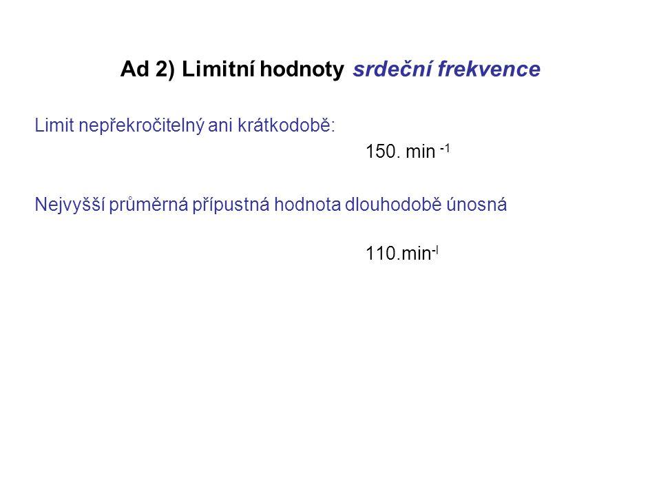 Ad 2) Limitní hodnoty srdeční frekvence Limit nepřekročitelný ani krátkodobě: 150.