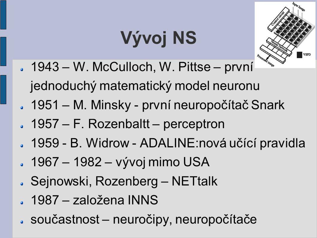 Vývoj NS 1943 – W. McCulloch, W. Pittse – první jednoduchý matematický model neuronu 1951 – M.
