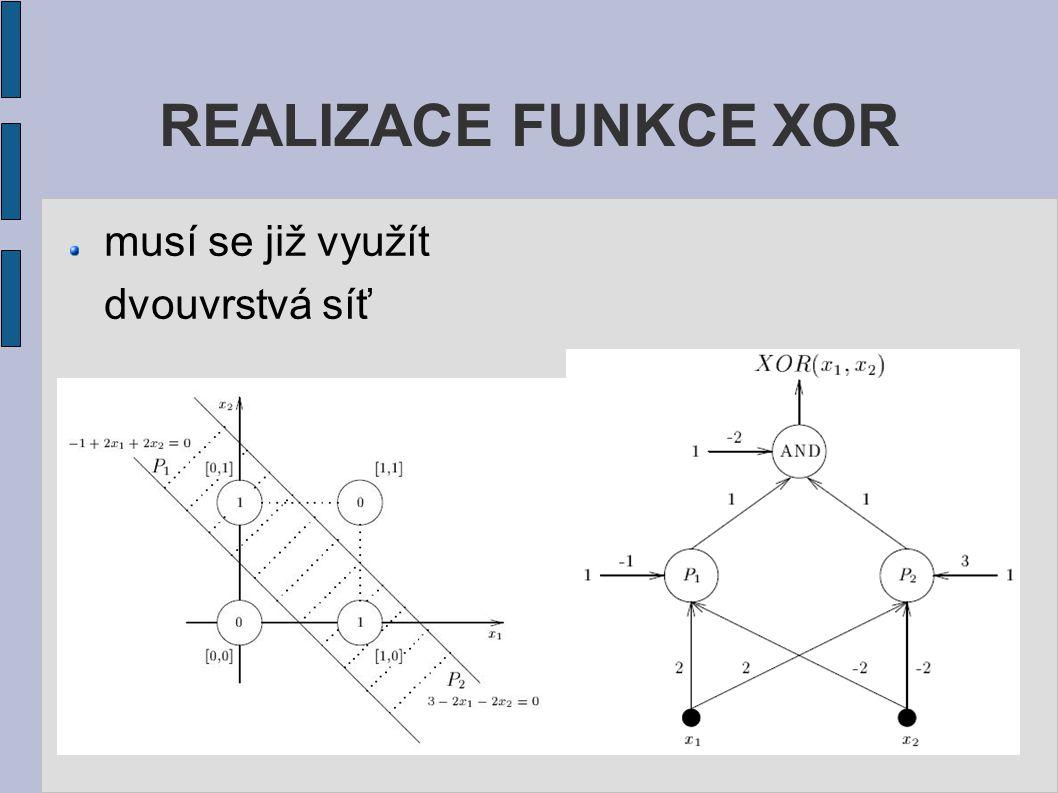 musí se již využít dvouvrstvá síť REALIZACE FUNKCE XOR