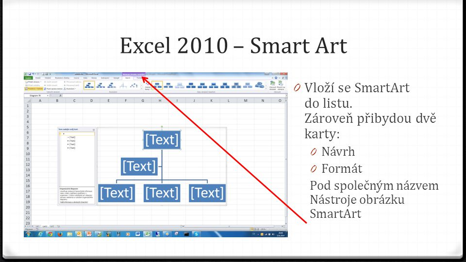 Excel 2010 – Smart Art 0 Vloží se SmartArt do listu.