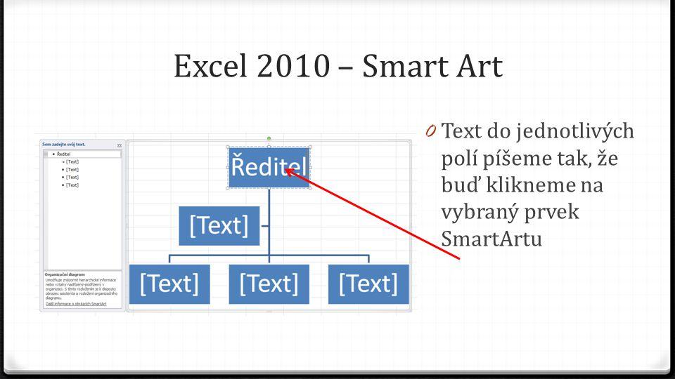 Excel 2010 – Smart Art 0 Text do jednotlivých polí píšeme tak, že buď klikneme na vybraný prvek SmartArtu nebo píšeme text v pomocném textovém poli