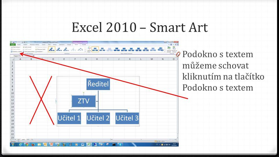 Excel 2010 – Smart Art 0 Podokno s textem můžeme schovat kliknutím na tlačítko Podokno s textem