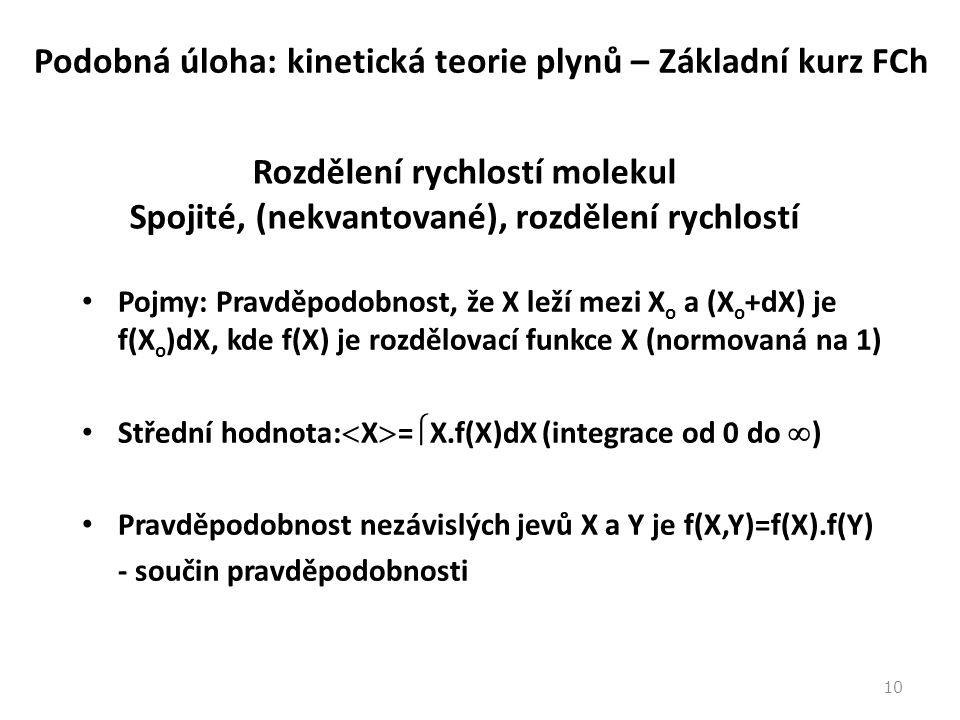 11 Maxwellovo-Boltzmannovo rozdělení rychlostí molekul Rozdělení složek rychlosti molekul ideálního plynu (podobnost s rozdělením energií ve statistické termodynamice): Složky rychlosti jsou nezávislé: f(v x,v y,v z ) = f(v x ).f(v y ).f(v z ) f - závisí na v 2 = (v x 2 + v y 2 + v z 2 ) f(v) = f(v x 2 + v y 2 + v z 2 )=f(v x ).f(v y ).f(v z ) Takovou vlastnost má exponenciální funkce