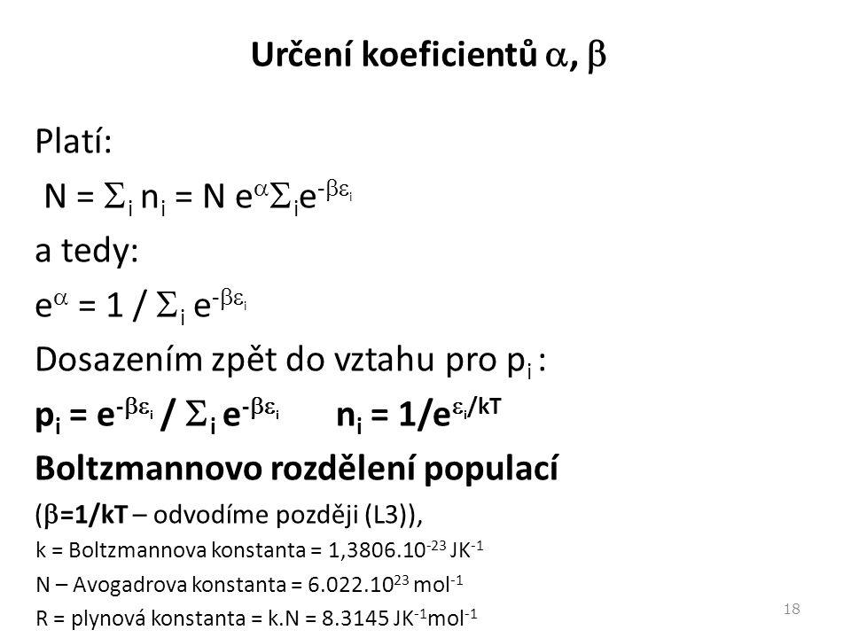 Určení koeficientů ,  Platí: N =  i n i = N e   i e -  i a tedy: e  = 1 /  i e -  i Dosazením zpět do vztahu pro p i : p i = e -  i /  i